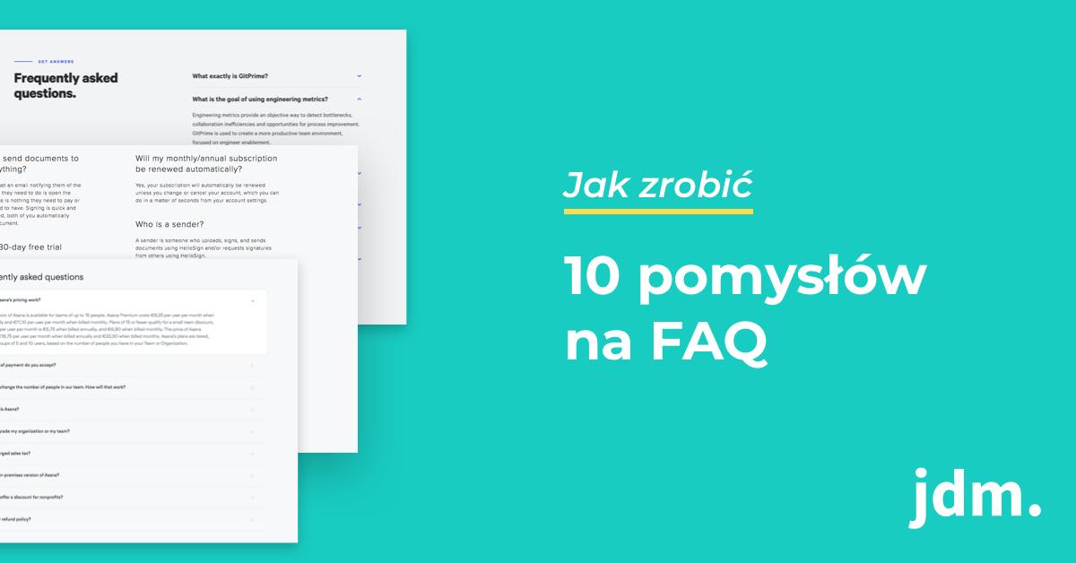 10 pomysłów na FAQ strony